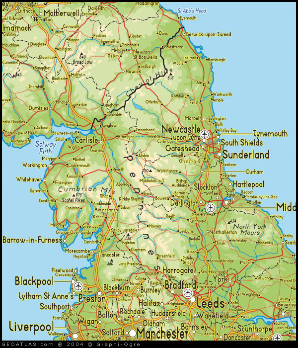 Map of north england map