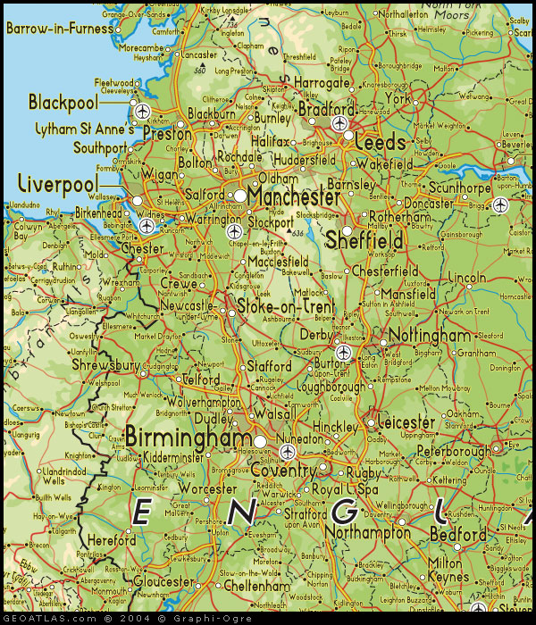 map of north west england