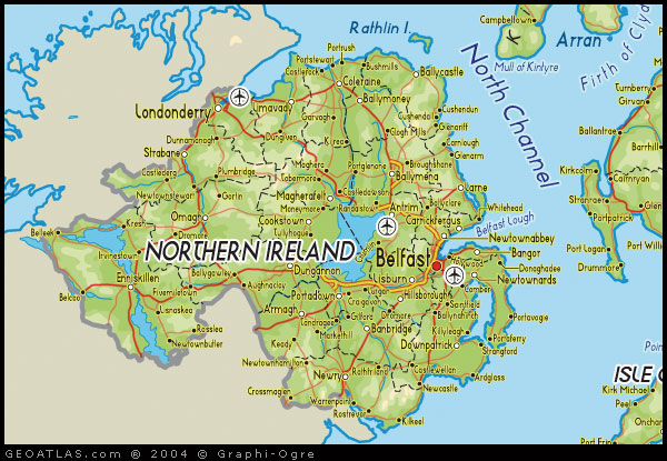 Physical map of Northern Ireland map road map northern ireland Atlas