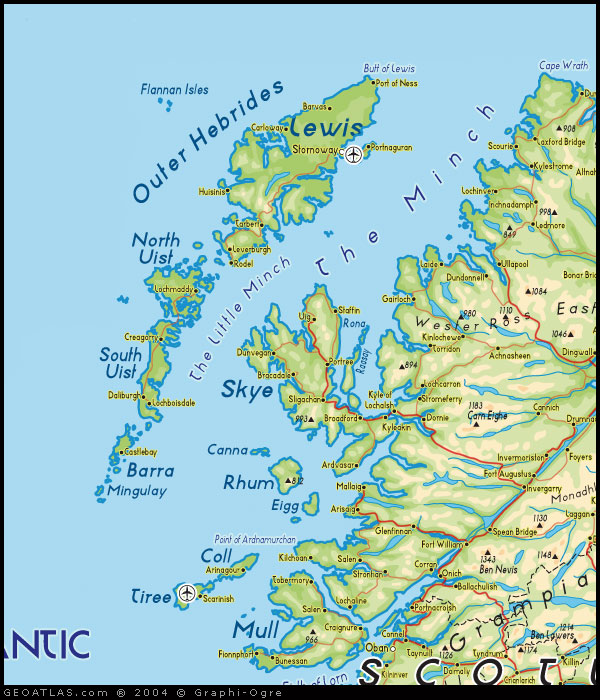 map of outer hebrides western isles map