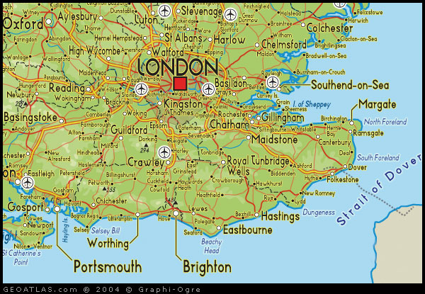 map of south east england map