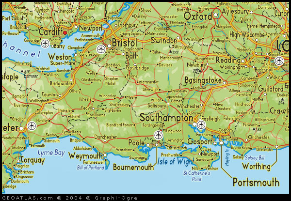 map of south england map
