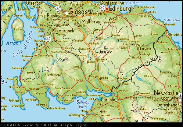 Scottish Borders Map Map of Scottish Borders, Scotland Map Scottish Borders Map