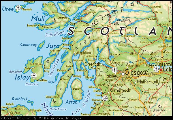 Map Of Uk Scotland.Map Of West Scotland Map Uk Atlas